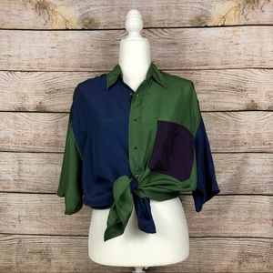 VTG 100% Silk Color Block Shortsleeved Button-Up
